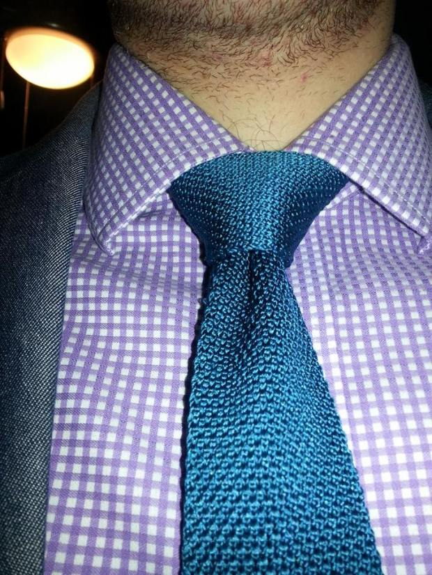 Gingham shirt + solid knit tie = great success!
