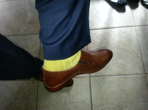 Just to show off the bright socks I opted to wear on that day!