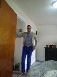 Striped Cotton blazer, purple gingham shirt, royal blue chinos, aqua tie with anchors and royal blue tie bar